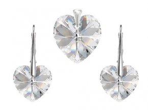 Prívesok a náušnice srdce Made with Swarovski Crystals - číre