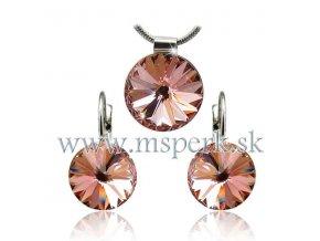 Set SWI crystal 12mm hnedo ružová farba