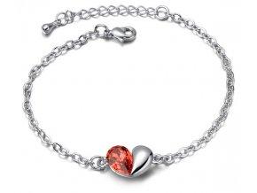Dámsky náramok Rozdelené srdce Crystal Red