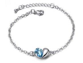 Dámsky náramok Rozdelené srdce Crystal Blue
