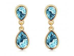 Luxusné dámske náušnice Drop Crystal Blue