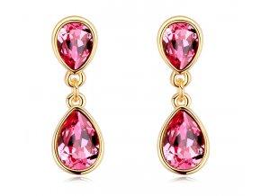Luxusné dámske náušnice Drop Crystal Rose