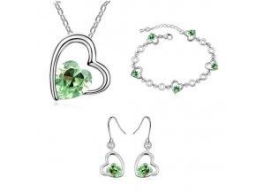 Náhrdelník, náušnice a náramok s kryštálmi Green
