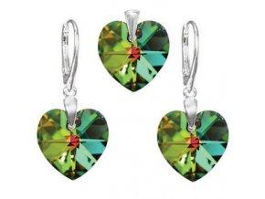 Exkluzívny set SWI crystal v tvare srdca zelený