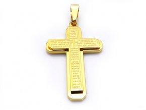 Prívesok kríž - pozlátený s modlitbou
