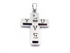 """Prívesok krížik s nápisom """"Love you"""""""