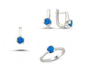 Strieborná súprava šperkov s opálom modrá farba