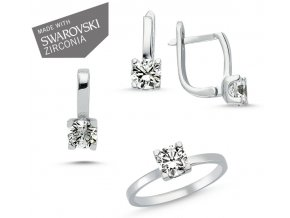 Súprava šperkov so zirkónmi Swarovski  Náušnice so zirkónom Ag 1g, prívesok so zirkónom Ag 1g, prsteň so zirkónom Ag 1 g