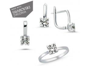 Súprava šperkov so zirkónmi Swarovski prsteň náušnice prívesok