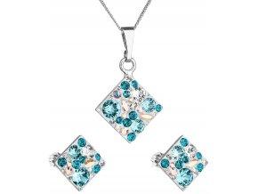Súprava šperkov so Swarovski Crystals - kosoštvorec tyrkysový