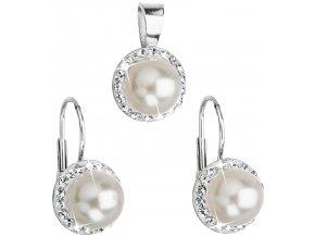 Súprava šperkov s kryštálmi Swarovski a bielou perlou