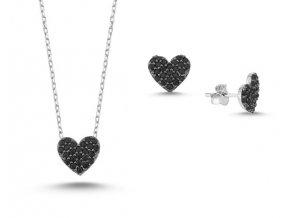 Strieborná súprava šperkov v tvare srdca - čierne zirkóny
