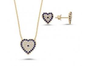 Strieborná súprava šperkov v tvare srdca s čírymi a modrými zirkónmi