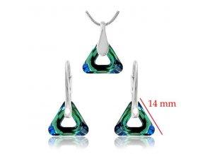 Set SWI crystal v tvare trojuholníka zeleno modrý