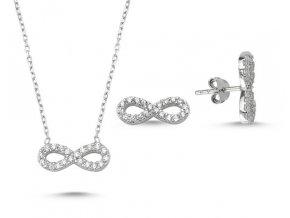 Strieborná súprava šperkov Infinity v tvare nekonečna