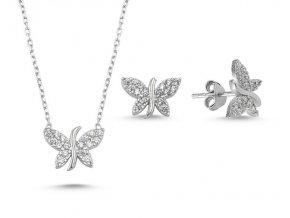 Strieborná súprava šperkov v tvare motýľa