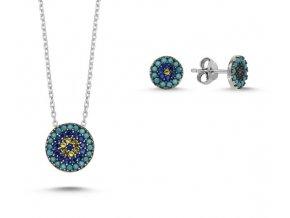 Strieborná súprava šperkov - trojfarebná tyrkysová modrá žltá farba