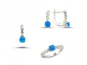 Opálová súprava šperkov zo striebra so zirkónmi  Náušnice so zirkónom Ag 2g, prívesok so zirkónom Ag 1g, prsteň so zirkónom Ag 2 g