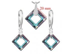 Set SWI crystal v tvare štvorca modro fialový