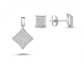 Súprava šperkov zo striebra so zirkónmi - štvorec