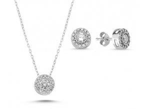 Okrúhle náušnice s náhrdelníkom zo striebra so zirkónmi
