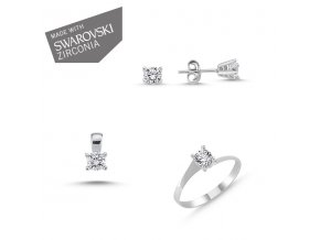 Strieborná súprava šperkov so zirkónmi Swarovski  Náušnice so zirkónmi Ag 1g, prívesok so zirkónmi Ag 1g, prsteň so zirkónmi Ag 1 g