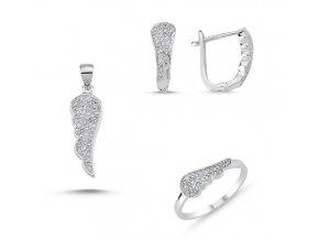 Súprava šperkov - anjelské krídla so zirkónmi  Náušnice so zirkónmi Ag 2g, prívesok so zirkónmi Ag 1g, prsteň so zirkónmi Ag 1 g