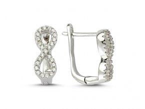 Strieborné dámske náušnice so zirkónmi Infinity