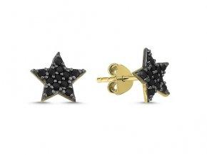 Náušnice zlatá hviezdička s čiernymi zirkónmi