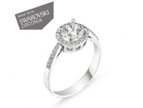 Strieborný dámsky prsteň so Swarovski zirkónmi  Striebro 925/1000: 2 g + RH