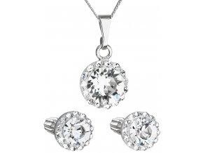 Súprava šperkov okrúhly model so Swarovski crystals - číre