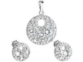 Súprava šperkov s kryštálmi Swarovski - číre, okrúhly tvar
