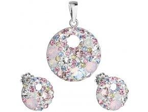 Súprava šperkov s kryštálmi Swarovski - ružové, okrúhly tvar