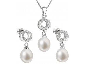 Súprava šperkov z bielych, riečnych perál s malým kruhom so zirkónmi