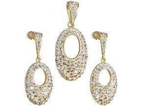 Prívesok a náušnice so Swarovski Crystal zlatá farba