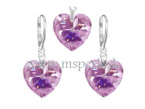 Exkluzívny set SWI crystal v tvare srdca ružovo fialová farba