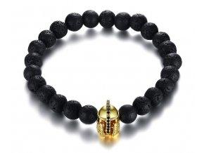 Elastický čierny náramok - lávové korálky a rytierska helma
