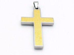 Prívesok kríž z chirurgickej ocele v strieborno zlatej farbe s textom