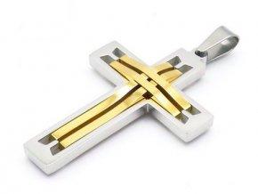 Prívesok krížik strieborno-zlatej farby prepletený