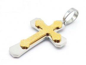 Prívesok krížik - pieskovaný povrch - strieborno zlatý