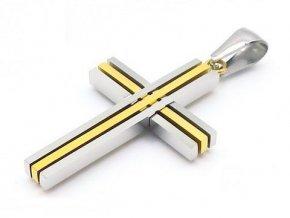 Prívesok krížik kombinovaný strieborno zlatý