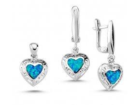 Strieborný opálový set prívesok a náušnice srdce