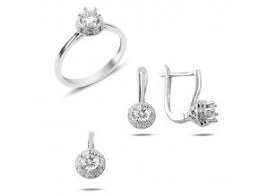 Strieborná dámska súprava šperkov, prívesok, náušnice a prsteň so zirkónom