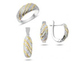 Strieborné dámske náušnice s príveskom a prsteňom