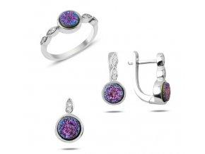 Strieborná súprava šperkov drúza minerálov fialovo ružová farba