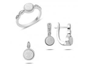 Strieborná súprava šperkov drúza minerálov biela