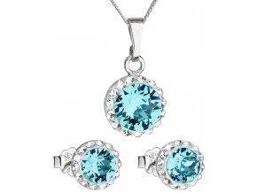 Súprava šperkov okrúhly model so Swarovski Crystals - modrá farba