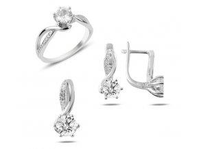Strieborná dámska súprava šperkov prívesok, náušnice a prsteň so zirkónom