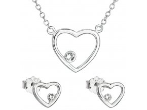Dámska súprava šperkov so Swarovski Crystals - číre srdce