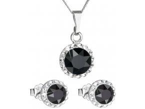 Súprava šperkov okrúhly model so Swarovski crystals - čierne Jet